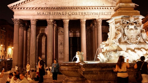 Night view of the Pantheon in Rome Italy