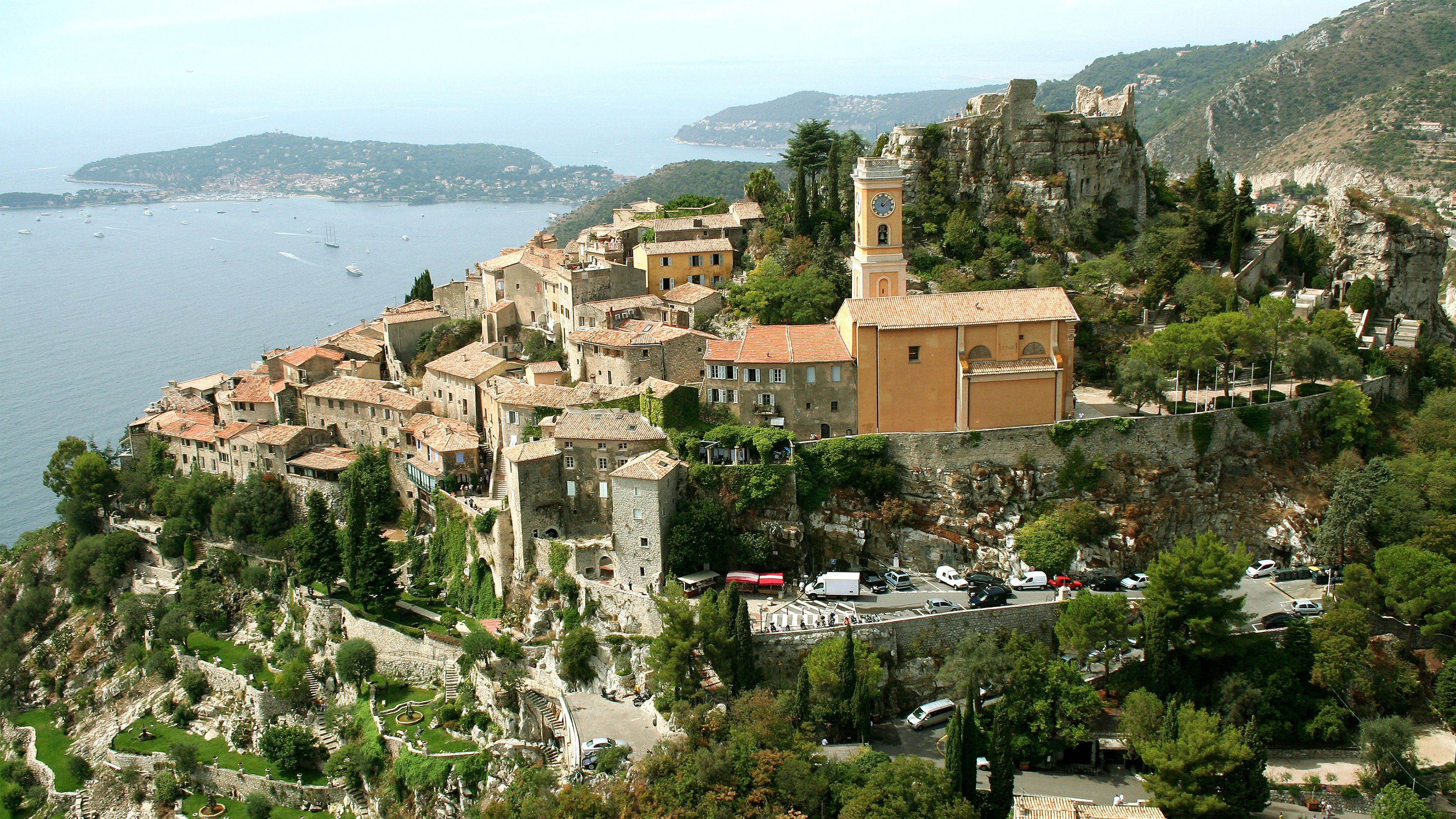 Old stone establishments in the town of Antibes in France