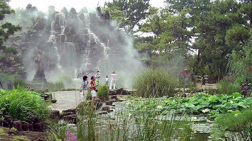 People in garden on Jeju Island