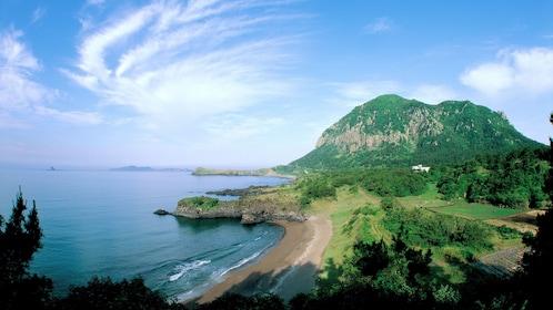 View of coast and mountain on Jeju island