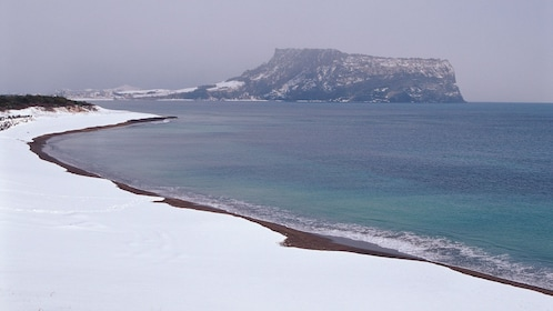 Snowy beach on Jeju Island