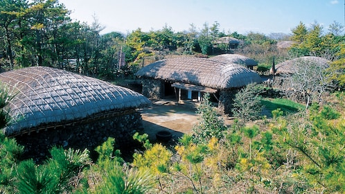 Large stone huts on Jeju Island