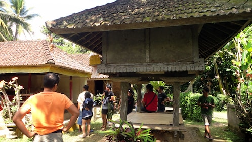 A tour group at a temple in Bali