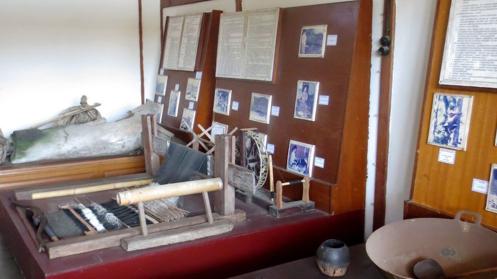 A loom on display at a museum in Bali