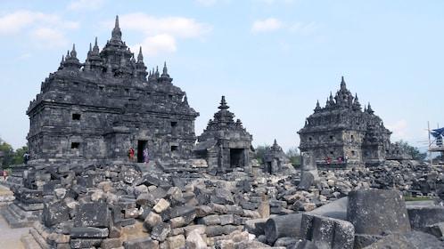 Buddhist temples and piles of ruins in Prambanan in Yogyakarta