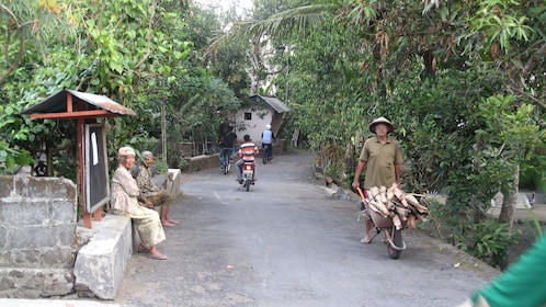 Narrow paved road in a village in Yogyakarta