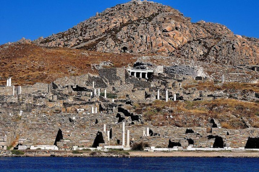 View from the yacht of the archaeological site of Delos Island