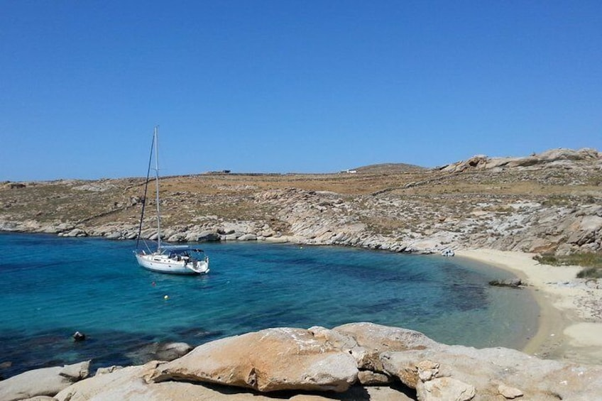 Uninhabited bay of Rhenia Island