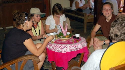 Tour group enjoying tea in Candirejo Village