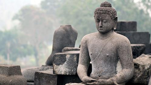 Relics of stone Buddha statues in Yogyakarta