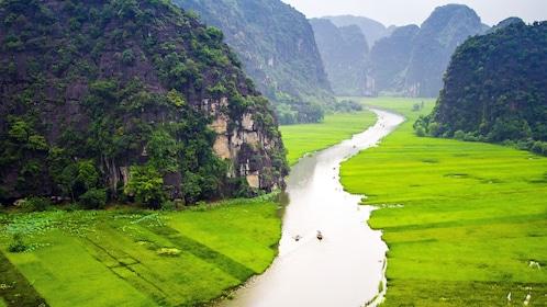 crop fields along the river in Hanoi