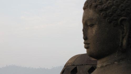 Profile of a the ruins of a large-scale stone Buddha in Yogyakarta