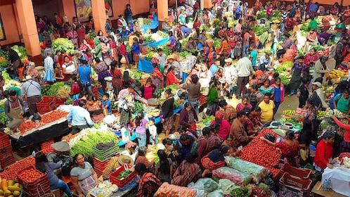 Overview of Chichicastenango market in Guatemala