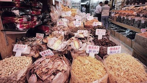 Food at a market in Hong Kong