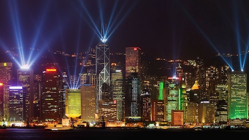 Bright lights shone from tall skyscrapers in Hong Kong
