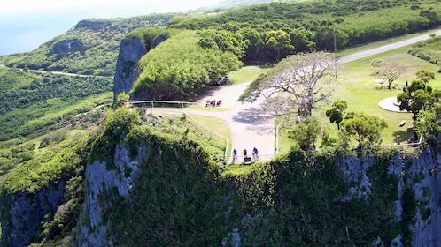 Aerial view of a group on a bike adventure in Saipan on a sunny day