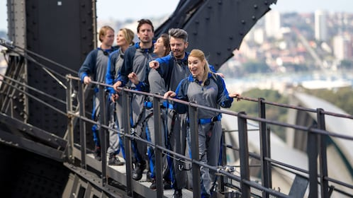 Closeup view of the guests as they do the BridgeClimb in Sydney Australia