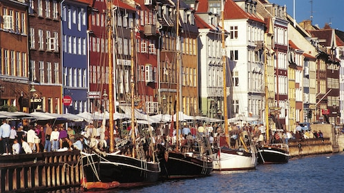 Boats docked along the street in Copenhagen