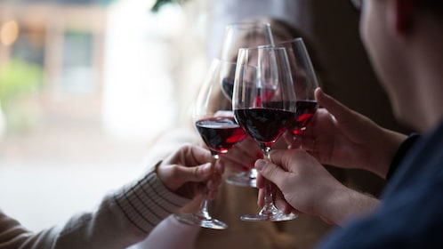 Wine tasters giving a toast in the Downtown Portland
