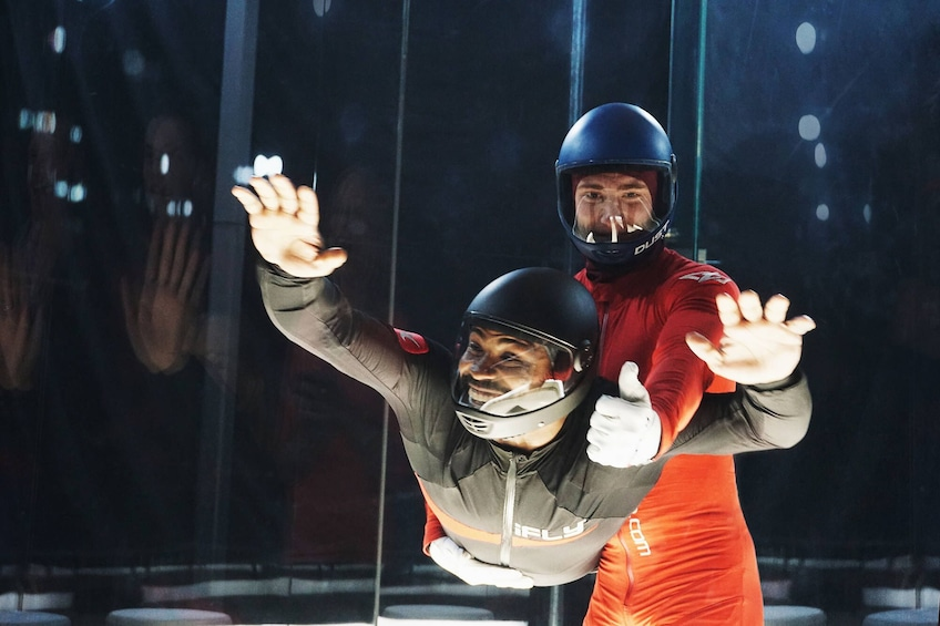 Instructor and customer atTwo Flight Indoor Skydiving Experience