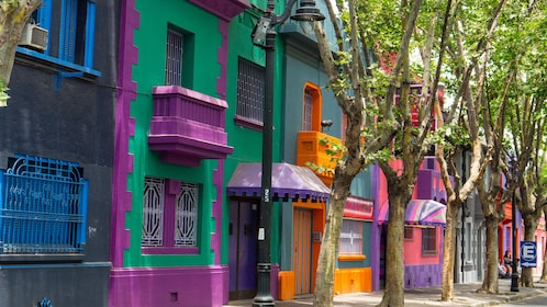 Colorful buildings in Santiago