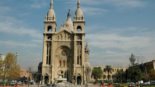 Large church and fountain in Santiago