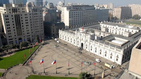 Aerial view of La Moneda Palace