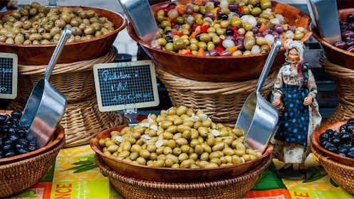 Colorful olives at the market in Cannes