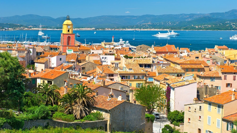Colorful clock tower at Saint Tropez in Cannes