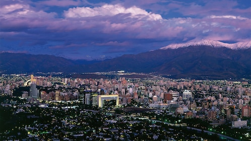 Cityscape of Santiago at night