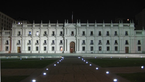 Government building at night in Santiago