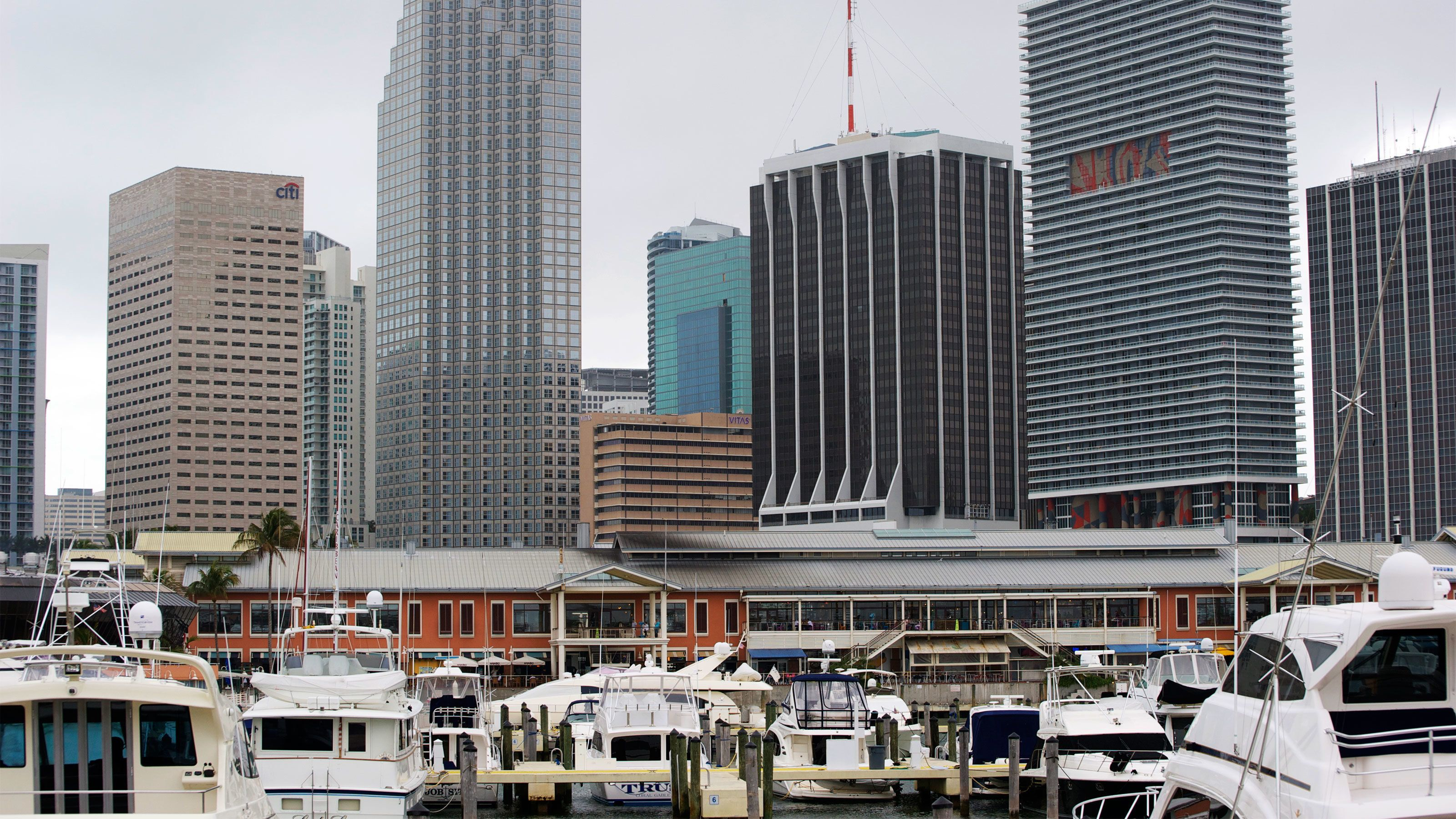Marina with tall buildings in background in Orlando.
