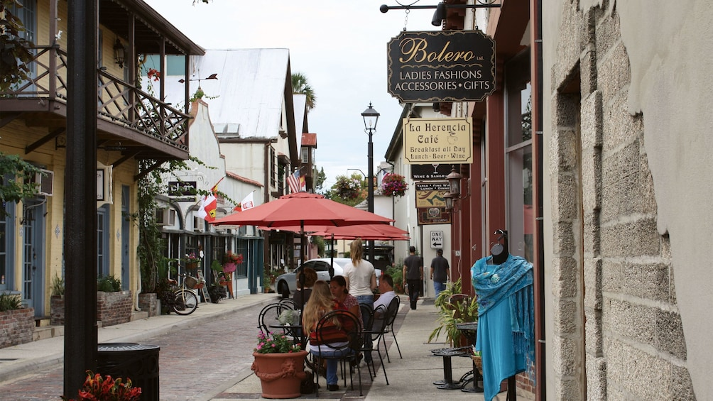 Show item 5 of 10. Shops and restaurants in historic district in St. Augustine.