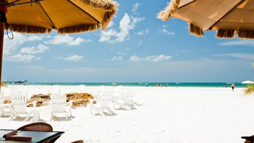 View of lounge chairs on Clearwater Beach in Florida.