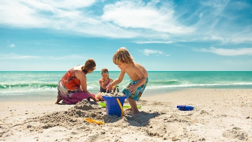 Beach with mother and children in Clearwater, Florida.