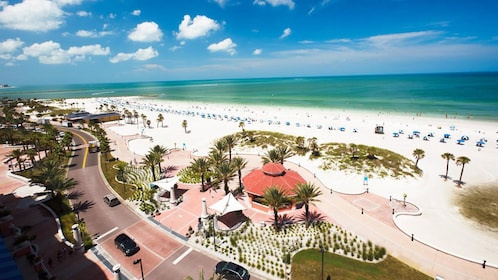 Panoramic view of Clearwater Beach in Clearwater, Florida.