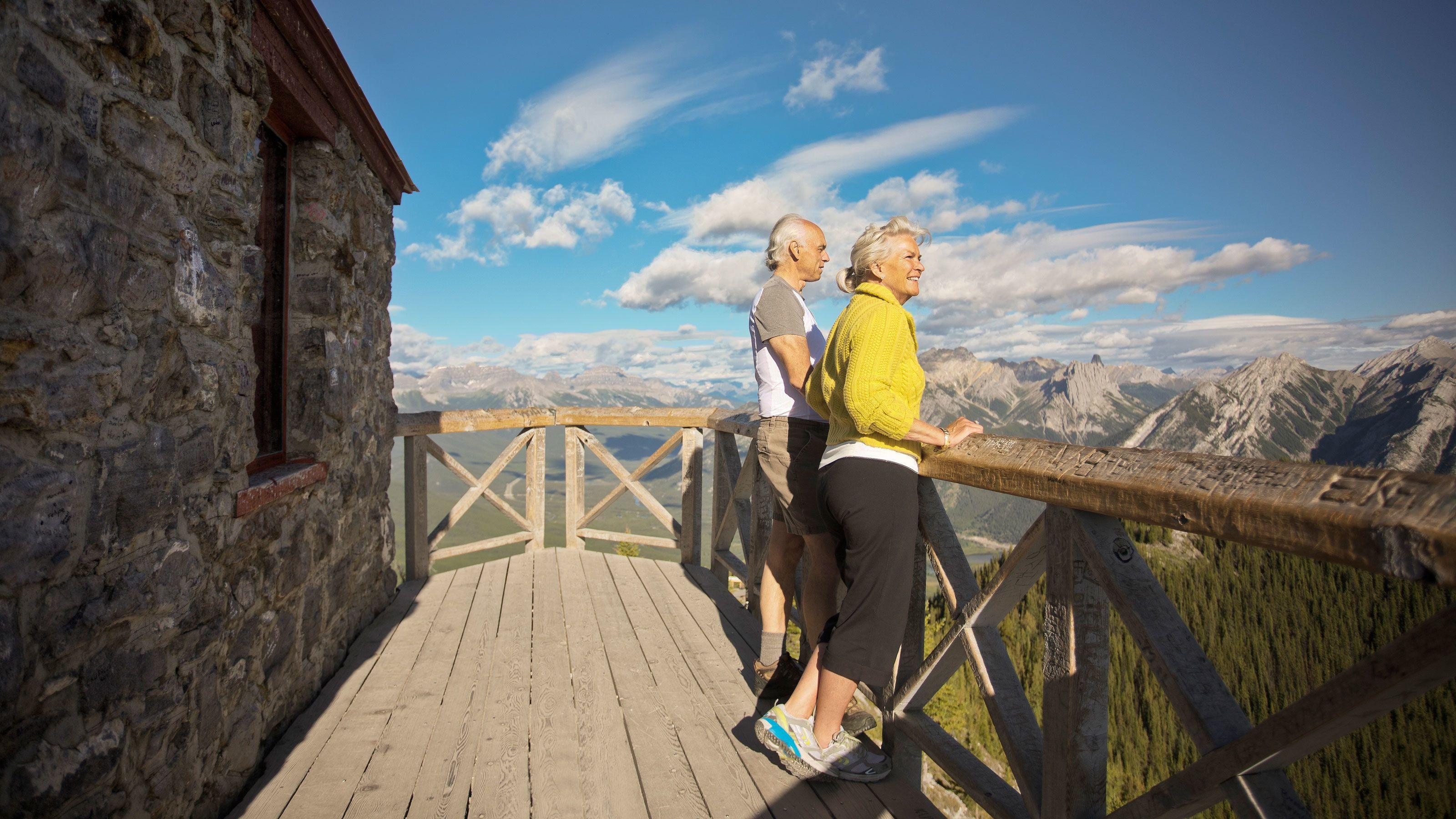 Enjoy spectacular views of the Canadian Rockies atop Sulphur Mountain