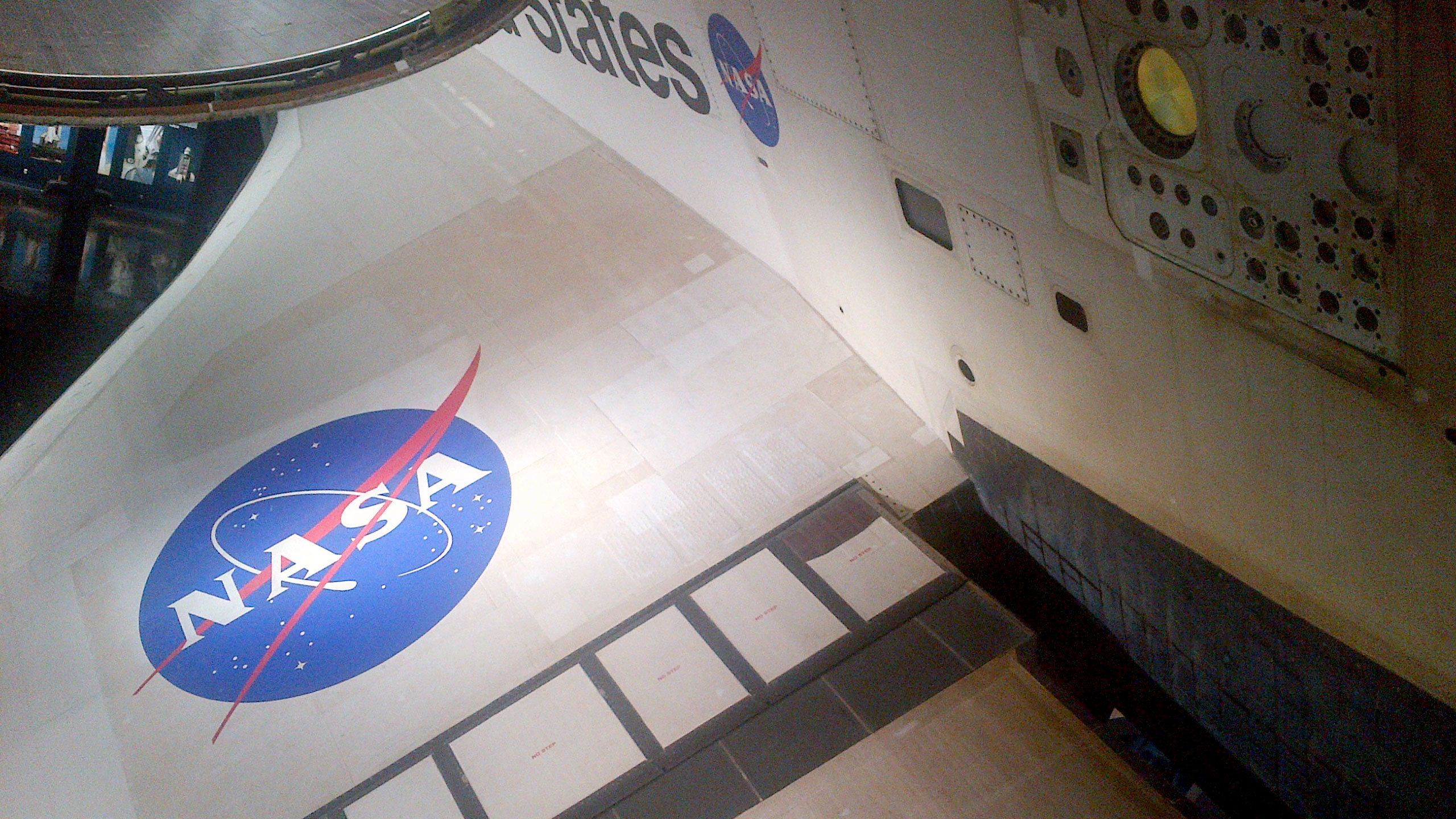 Nasa logo on wing of space shuttle at the Kennedy Space Center in Orlando