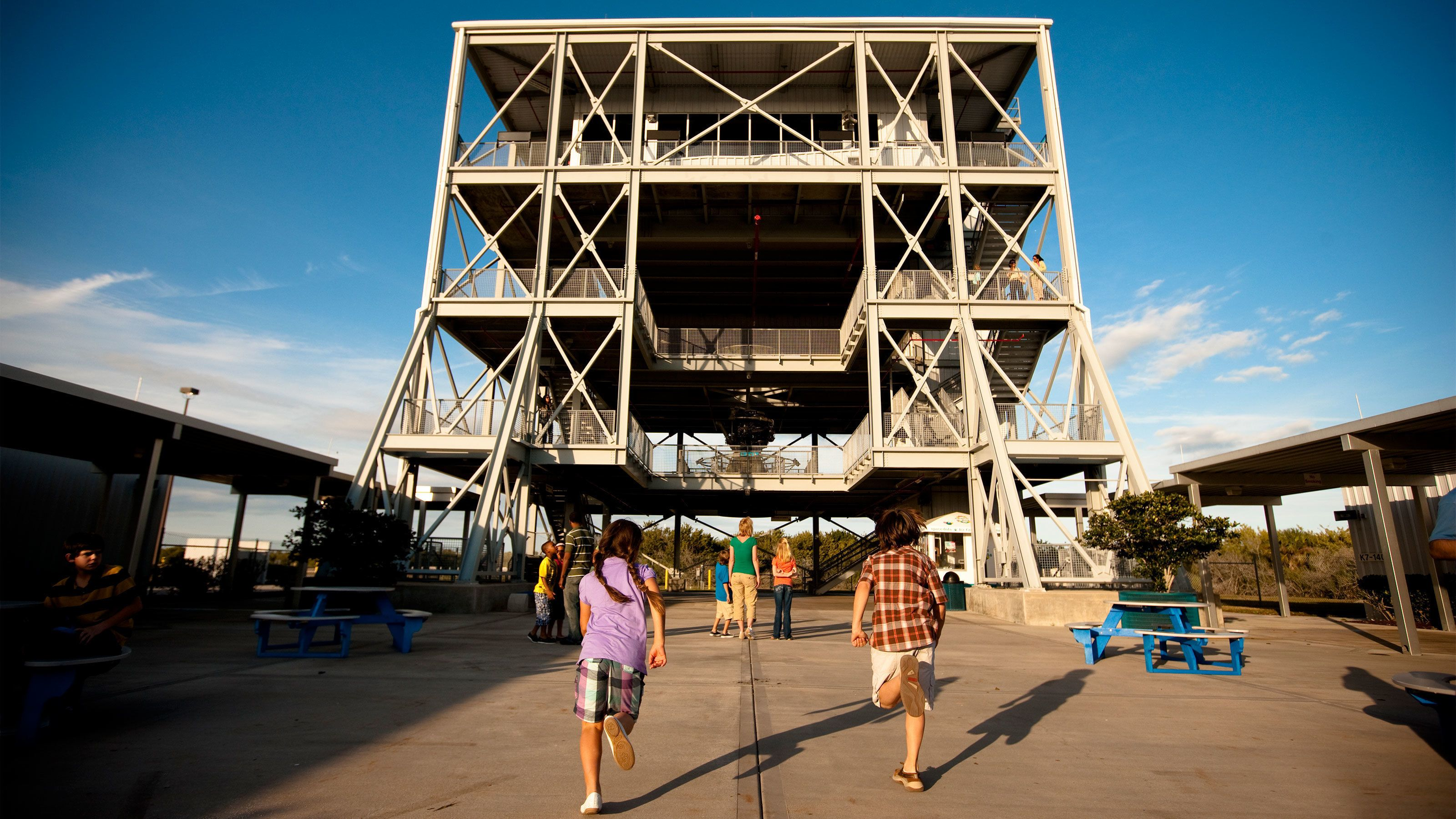Kennedy Space Center with kids running in Orlando.