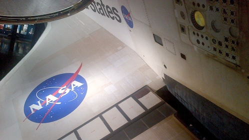 Nasa Logo on wing of space shuttle at Kennedy Space Center in Orlando.