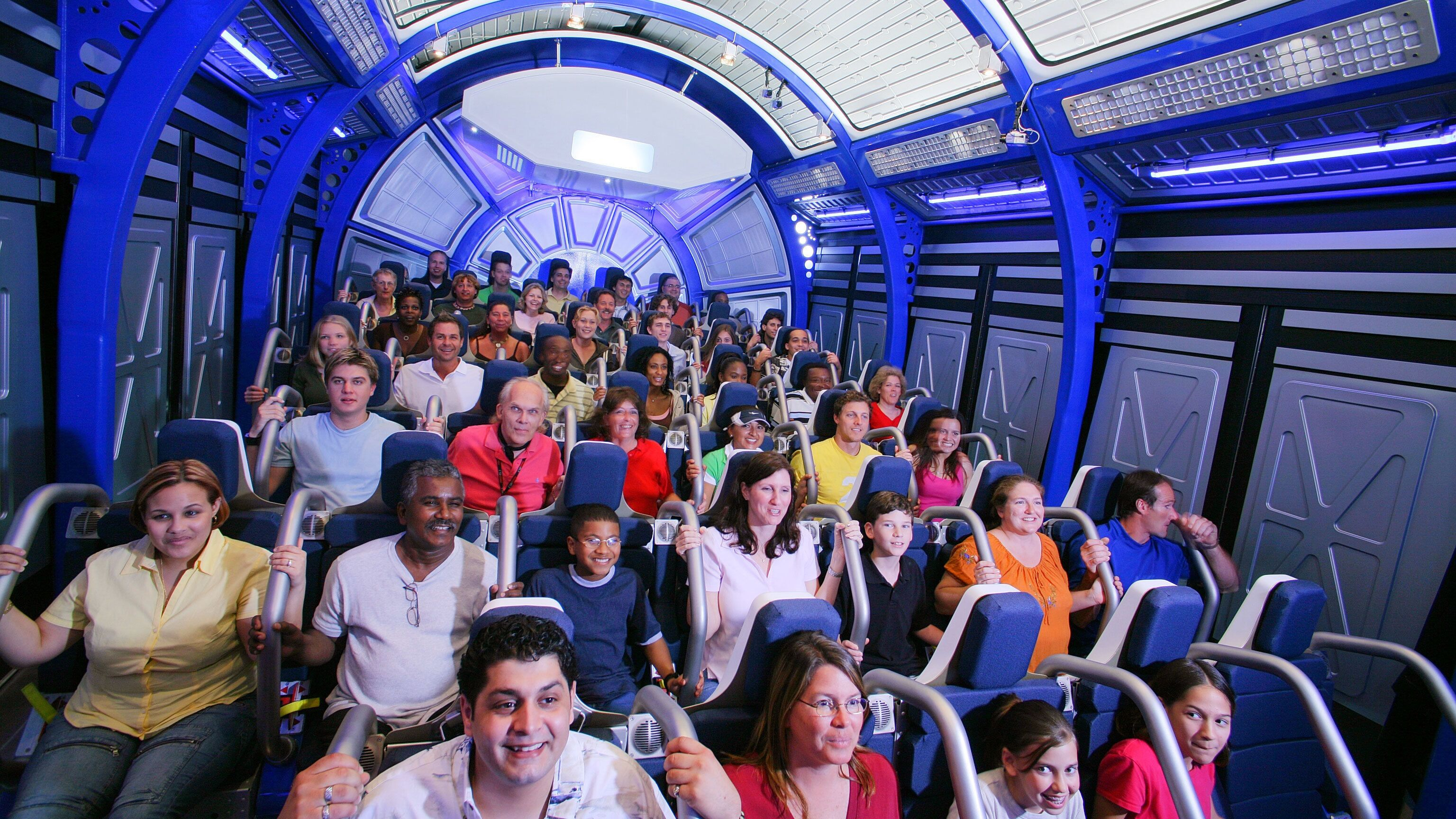 Flight simulation with group at Kennedy Space Center in Orlando.