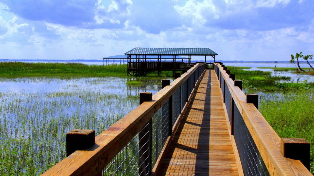 Boardwalk over the water in the Everglades in Orlando.