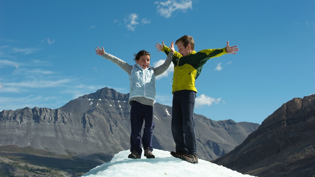 Children accompanied by their parents are welcome to join the excursion onto the Columbia Icefields