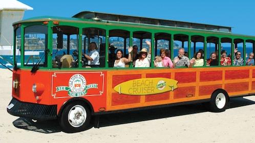 Hop on hop off trolley on beach in San Diego