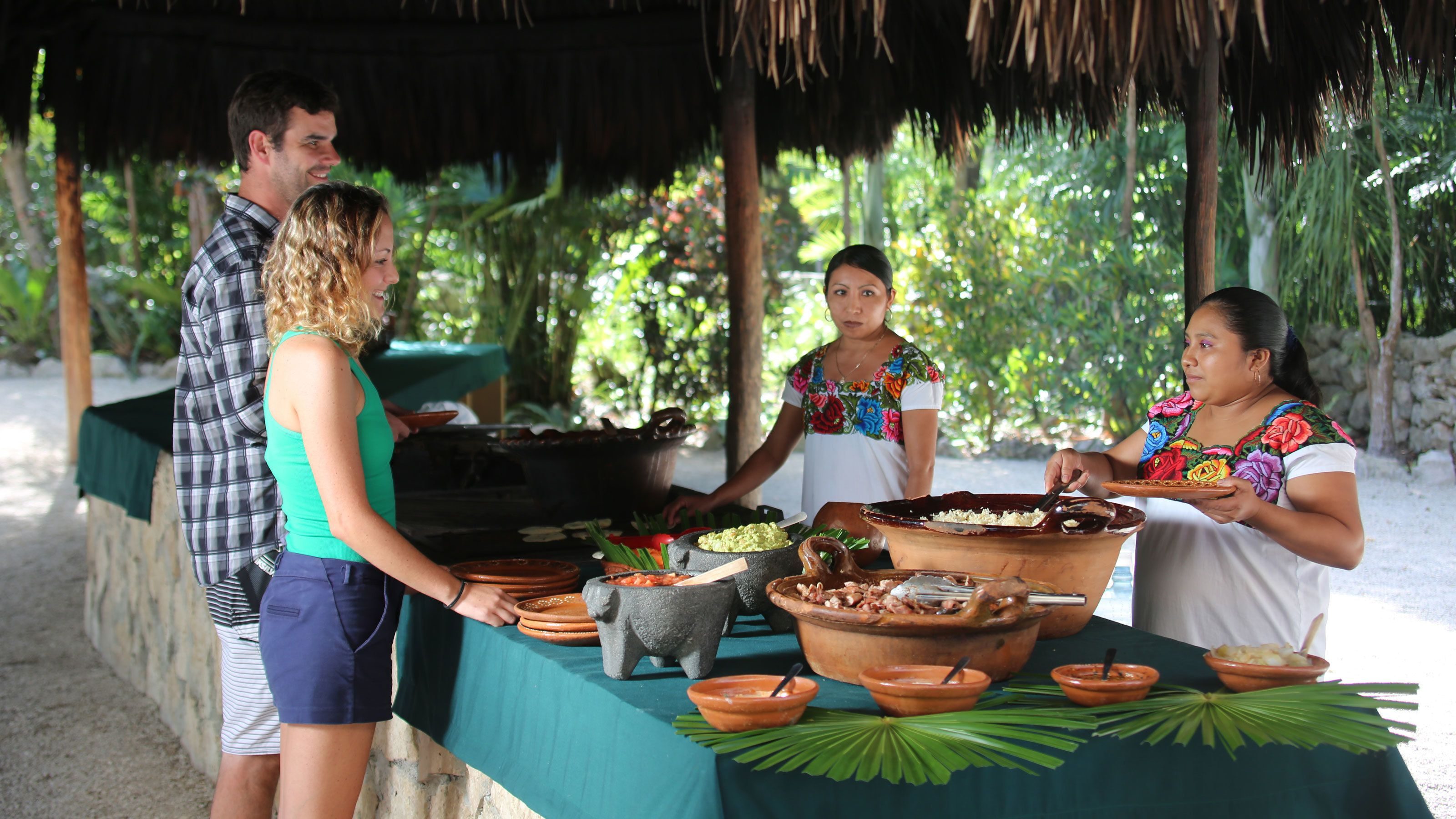 Buffet lunch featuring local cuisine is included on the Tulum & Tankah Eco Adventure Park Excursion
