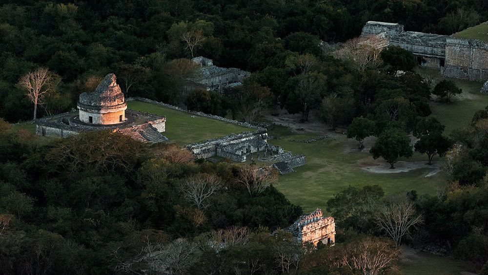 Aerial view of the Observatory Tower at Chichen Itza at sunset