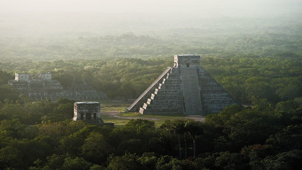 Aerial view of El Castillo Pyramid at Chichen Itza