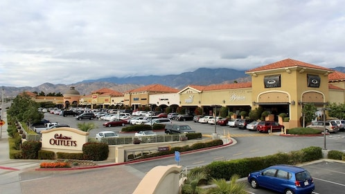 Cabazon Outlet shopping center and parking lot in Palm Springs