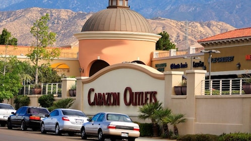 Entrance sign for Cabazon Outlets in Palm Springs