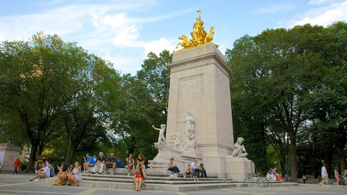 Golden statue at Central Park in New York